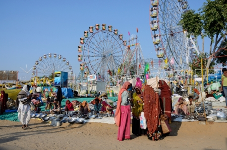 Pushkar,India,November 13,2013 - People are selling goods at amusement park during traditional camel mela in Pushkar , Rajasthan, India