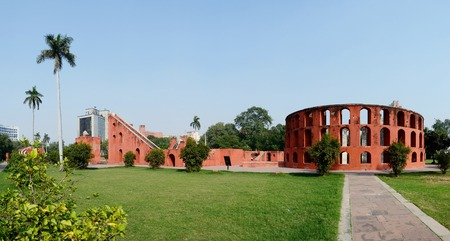new delhi: Jantar Mantar panorama in Old Delhi,India