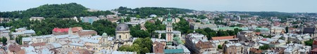 lemberg: Long panorama of Lvov  Lemberg  old town and market square from the city hall tower, Western Ukraine Stock Photo