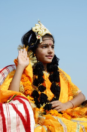 incarnation: Pushkar,India,November 13,2013 - girl dressed as Rukmini, wife of Lord Krishna at Pushkar traditional holiday, Rajasthan, India Krishna is eighth incarnation of Lord Vishnu in Hinduism  Editorial