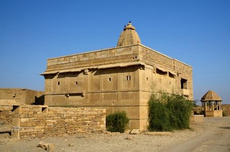 thar: Hindu temple in abandoned village of Kuldhara in Rajasthan,Thar desert, India,Asia