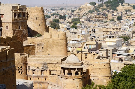 View of golden Jaisalmer from city fort in Rajasthan,India,South Asia photo