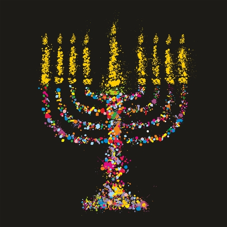 Grunge jewish colorful Chanukiah on black ,Vector Vector
