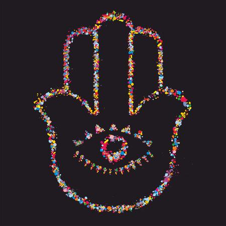 Grunge stylized colorful Hamsa on black -  vector illustration
