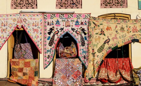 indian fabric: Traditional colorful indian fabric textile,Rajasthan, India