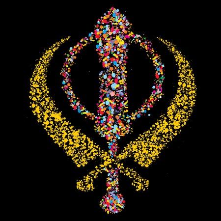 deg: Grunge stylized colorful Khanda,sikh religious symbol on black for holiday vector illustration