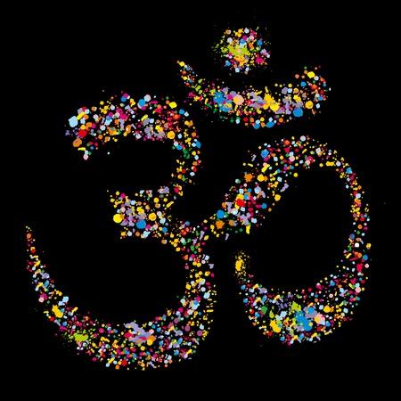 guru: Grunge colourful religious hindu symbol Om, vector illustration