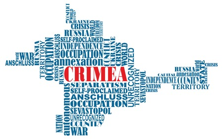 annexation: Vector conceptual word map of Crimea, ukrainian territory, invaded invaded by Russia