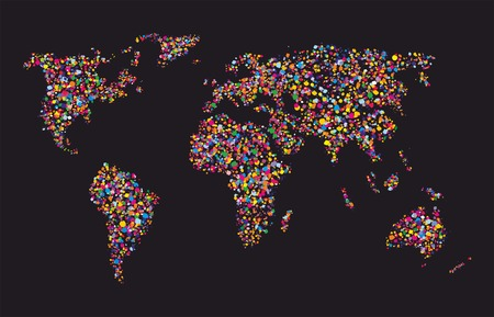 Grunge colourful collage of world map on black background - vector illustration for your travel design