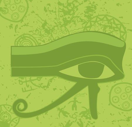 ojo de horus: Ojo Grunge egipcio de Horus, antigua deidad, símbolo religioso, ilustración vectorial