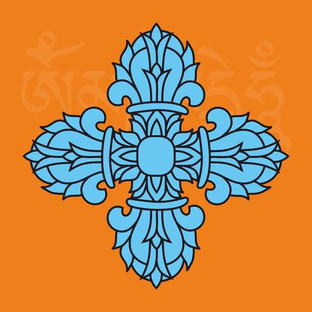 Sacred buddhist religious symbol  - vajra or dorje,Sanskrit word meaning both thunderbolt and diamond, vector illustration Stock Vector - 27503669
