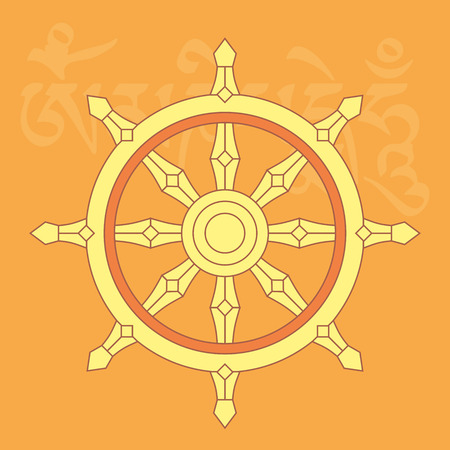 Wheel of dharma,one of eight auspicious buddhist religious symbols, vector illustration Vectores