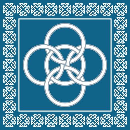 Celtic fünffache Knoten symbolisiert Integration der vier Elemente: Wasser, Luft, Erde und Feuer in fünfte Element Äther bekannt Illustration