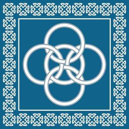 Celtic Five Fold knot, symbolizes integration of four elements: water, air, earth and fire into fifth element known as aether