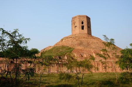 uttar pradesh: Holy buddhist Chaukhandi Stupa in Sarnath with octagonal tower ,Uttar Pradesh,India