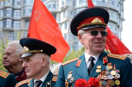 commemoration: Odessa,Ukraine,May 9,2014 - Old veterans come to celebrate Victory Day in commemoration of Soviet soldiers who died during Great Patriotic War 1941-1945,Odessa,Ukraine Editorial