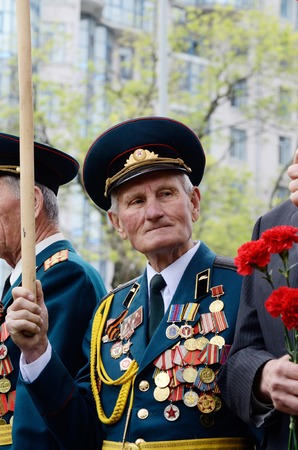 commemoration: Odessa,Ukraine,May 9,2014 - Old veterans come to celebrate Victory Day in commemoration of Soviet soldiers who died during Great Patriotic War,Odessa,Ukraine