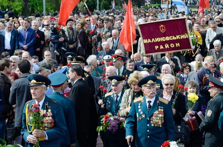 commemoration: Odessa,Ukraine,May 9,2014 - Veterans of Second World War coming to lay flowers at Uknown Seaman  Monument in a commemoration of Soviet warriors who fought against Nazi invasion during Second World War,Odessa,Ukraine