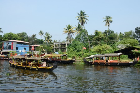 Alleppey,India,December 10,2013 - tourist boats at Kerala backwaters on December 10, 2013 in Alleppey,Kerala,India