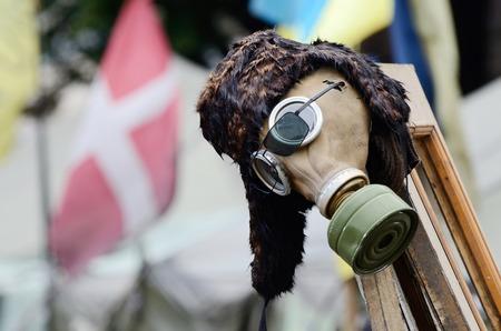 maidan: Gas mask - military item in rioters camp on Maidan Nezavisimosti square  downtown of Kiev  after February revolution,Ukraine