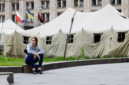protesters: Kiev,Ukraine,June 19,2014 - Protesters tents at Khreshatyk street near Maydan Nezalezhnosti square in Kiev after February revolution