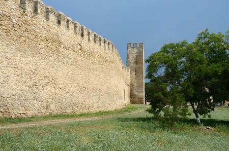 fortified wall: Fortified wall and watchtower in old turkish fortress Akkerman on the river Dniester in Belgorod-Dnestrovsky, Ukraine Stock Photo