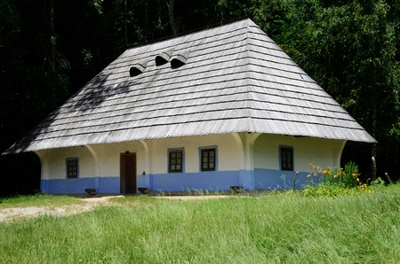 wattle: Traditional medieval Ukrainian wattle and daub house with hay roof in Pirogovo park,Ukraine,Europe