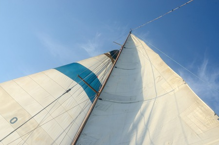 rigging: Old boat standing and running rigging - mainsail,staysaill,mast and crosspieces and backstays