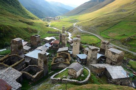 svaneti: Chazhashi and Murqmeli villages,part of highest European settlement in Upper Svaneti, Georgia, Caucasus, unesco heritage site.View from queen Tamar tower