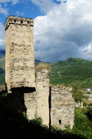 mestia: View of Mestia protective towers,famous medieval landmark, Upper Svaneti, Georgia, Caucasus, unesco heritage site Stock Photo