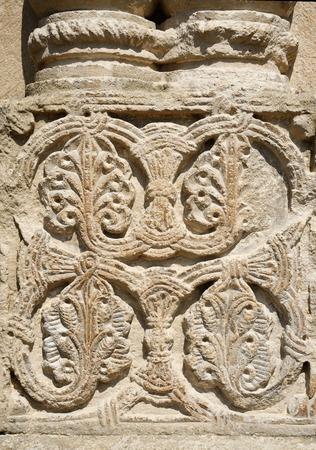kutaisi: Traditional georgian floral ornament on Bagrati Cathedral wall, Kutaisi,Georgia