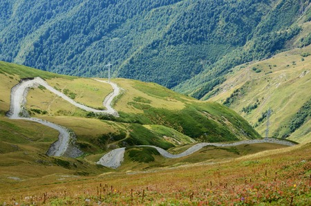 alpine zone: Road from Lower to Upper Svaneti, zone of alpine meadiws,popular tourist destination among trekkers,Caucasus mountains, Georgia, Europe