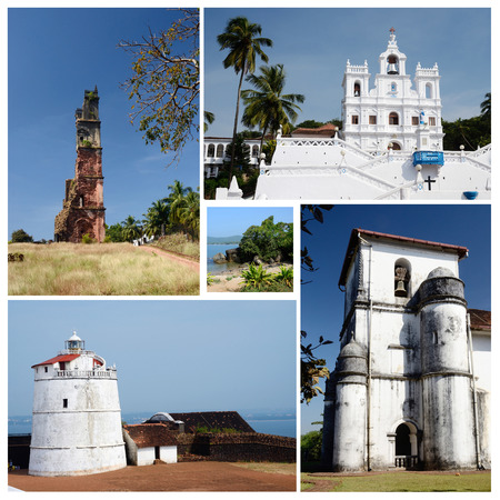 aguada: Collage of North and South Goa state popular travel destinations,India  - Panaji,Old Goa, Candolim beach,Aguada fort,unesco heritage
