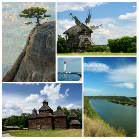 sightseeng: Collage of ukrainian cultural and nature landmarks - medieval wooden churches,Crimea mountains and Dniester river