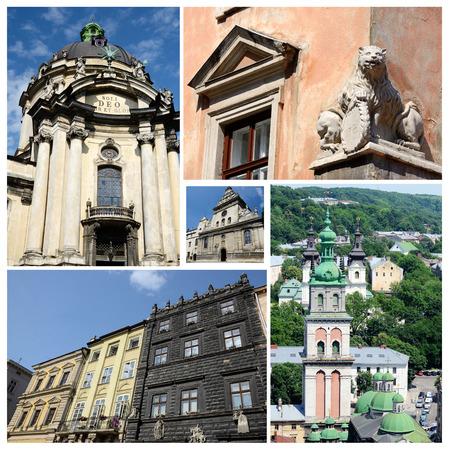 sightseeng: Collage of famous Lvov landmarks (Ukraine),old city center - unesco heritage site Stock Photo