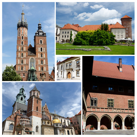 sightseeng: Collage of Krakow famous landmarks,listed as  cultural heritage - Wawel,Mariacki church,Jagiellonian University