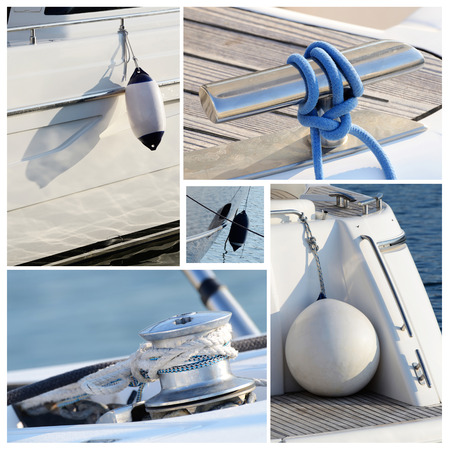 standing water: Collage of modern sailing boat stuff - winches, boat fenders,ropes and snatch cleats