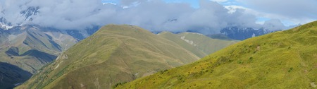 Panorama of Caucasus mountains in Upper Svanetia, historic province in Georgia,famous trekking route to Ushguli village, Georgia photo