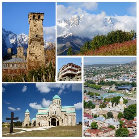 kutaisi: Collage di punti di riferimento popolari Georgia turistici, patrimonio unesco - borgo medioevale Ushguli, vecchia Tbilisi e la Cattedrale di Bagrati a Kutaisi Archivio Fotografico