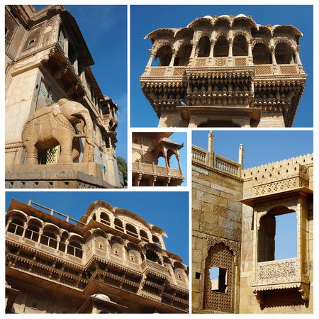Collage of Jaisalmer unique architectural landmaks,Rajasthan,India, photo