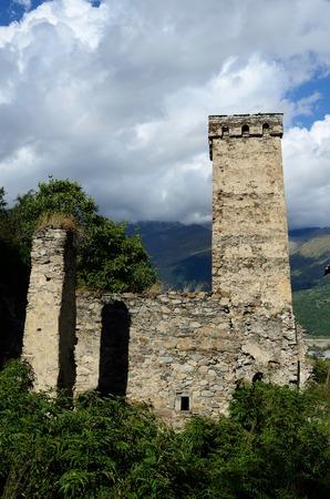 mestia: Famous medieval georgian village with tribal fortified tower,Mestia village,Svanetia, Georgia