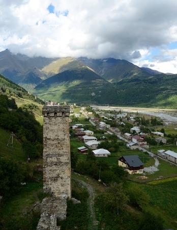 mestia: Famous tribal fortified tower in Mestia,Upper Svanetia, Georgia, Caucasus mountains  Stock Photo