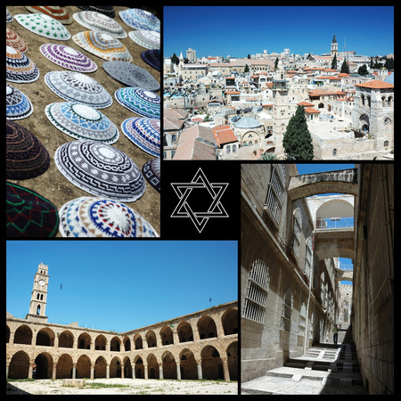 ancient israel: Collage of Israel landmarks ,home of three main world religions - judaism,christianity and islam