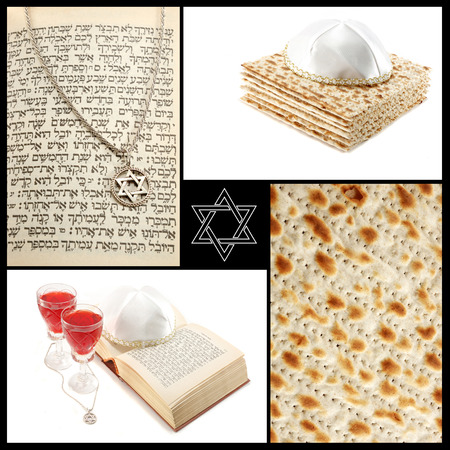 Collage of jewish religious holiday attributes - Torah,Magen David,ritual red wine and maza