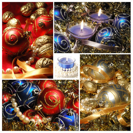 new year tree: Holiday collage with Christmas tree decorations for your creative design