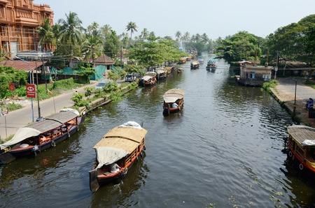 alappuzha: Alappuzha,India,December 10,2013 - tourist boats at Kerala backwaters  in Alappuzha,Kerala,India