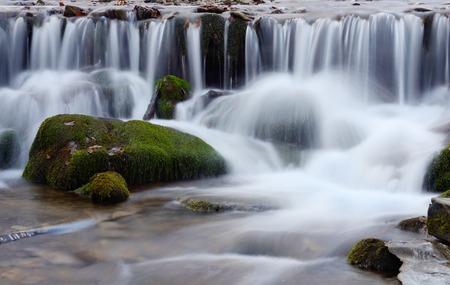 cascade mountains: Beautiful Shipot waterfall cascade in Carpathian mountains,Western Ukraine