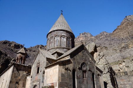 geghard: Geghard or Ayrivank medieval monastery surrounded by cliffs,Kotayk province,Armenia, unesco world heritage site