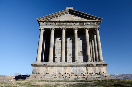 neopaganism: Garni temple,dedicated to sun god Mithra - classical Hellenistic building , one of main tourist attractions in Armenia and the central shrine of neopaganism Stock Photo