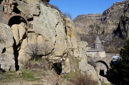 geghard: View of Geghard rock monastery with ancient khachkars